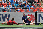 2nd February 2019, Spotless Stadium, Sydney, Australia; HSBC Sydney Rugby Sevens; Wales versus Scotland; George Gasson of Wales fails to stop Alec Coombes of Scotland from scoring