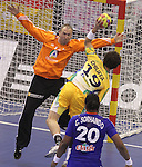 15.01.2013 Granollers, Spain. IHF men's world championship, prelimanary round. Picture show Fabio Rocha Chiuffa  and Thierry Omeyer   in action during game between France v Brazil at Palau d'esports de Granollers