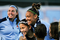 Piscataway, NJ - Sunday Sept. 25, 2016: Tasha Kai, Erin Simon prior to a regular season National Women's Soccer League (NWSL) match between Sky Blue FC and the Portland Thorns FC at Yurcak Field.