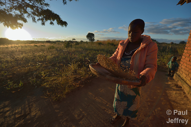 Mektie Nkuna winnows corn in Chibamu Jere, Malawi. Pregnant with her second child, Nkuna and other women in the village get support from the Maternal, Newborn and Child Health program of the Livingstonia Synod of the Church of Central Africa Presbyterian.