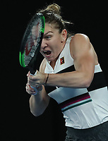 17th January 2019, Melbourne Park, Melbourne, Australia; Australian Open Tennis, day 4; Simona Halep  of Romania returns the ball in the match against Sofia Kenin of USA