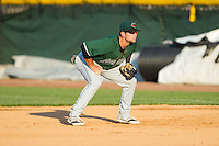 Augusta GreenJackets first baseman Ryan Tuntland (12) on defense against the Hickory Crawdads at L.P. Frans Stadium on May 11, 2014 in Hickory, North Carolina.  The GreenJackets defeated the Crawdads 9-4.  (Brian Westerholt/Four Seam Images)