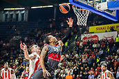 9th February 2018, Aleksandar Nikolic Hall, Belgrade, Serbia; Euroleague Basketball, Crvenz Zvezda mts Belgrade versus AX Armani Exchange Olimpia Milan; Guard Curtis Jerrells of AX Armani Exchange Olimpia Milan fights for the ball against Center Alan Omic of Crvena Zvezda mts Belgrade under the basket