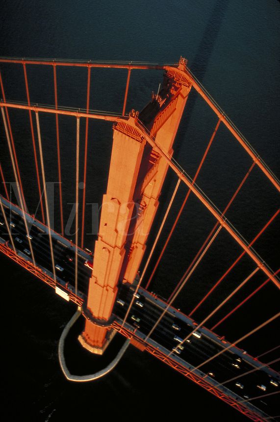 aerial image of Golden Gate Bridge tower with road surface and traffic. . San Francisco CA USA S.F. Bay.