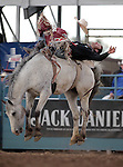 Clint Cannon competes in the bareback bronc riding event at the Reno Rodeo, in Reno, Nev. on Friday night, June 22, 2012..Photo by Cathleen Allison