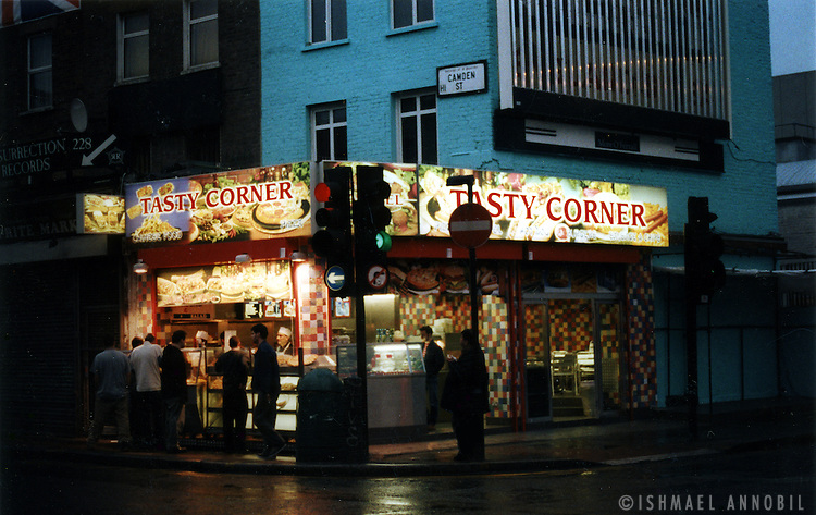 Camden Town fast food joint, noted for its wedges of pizza and chips.