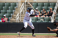 Brandon Dulin (31) of the Kannapolis Intimidators at bat against the West Virginia Power at Kannapolis Intimidators Stadium on June 18, 2017 in Kannapolis, North Carolina.  The Intimidators defeated the Power 5-3 to win the South Atlantic League Northern Division first half title.  It is the first trip to the playoffs for the Intimidators since 2009.  (Brian Westerholt/Four Seam Images)