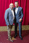 © Licensed to London News Pictures . 16/05/2015 .  The Palace Hotel , Manchester , UK . Bhasker Patel and Chris Bisson . The red carpet at the 2015 British Soap Awards , The Palace Hotel , Oxford Road , Manchester . Photo credit : Joel Goodman/LNP