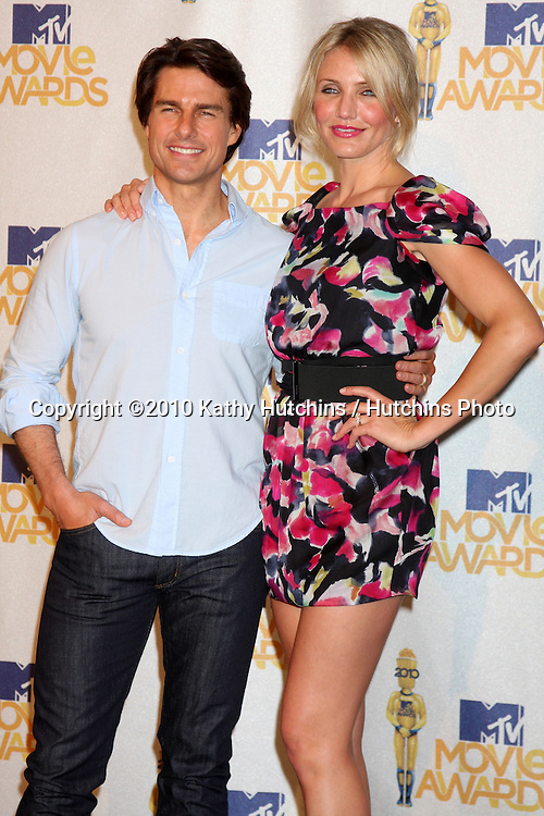 Tom Cruise & Cameron Diaz.in the press room of the MTV Movie Awards 2010.Gibson Ampitheater.Los Angeles, CA.June 6, 2010.©2010 Kathy Hutchins / Hutchins Photo..
