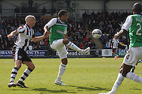 Thomas Soares passing under presure from Jim Goodwin  in the St Mirren v Hibernian Clydesdale Bank Scottish Premier League match played at St Mirren Park, Paisley on 29.4.12.