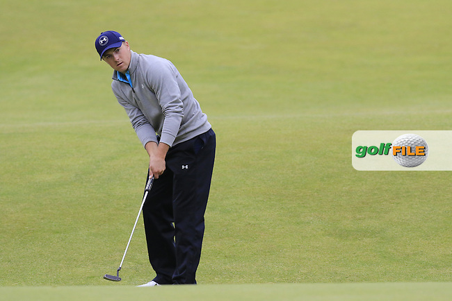 Jordan Spieth (USA) takes his putt on the 18th green during Monday's Final Round of the 144th Open Championship, St Andrews Old Course, St Andrews, Fife, Scotland. 20/07/2015.<br /> Picture Eoin Clarke, www.golffile.ie