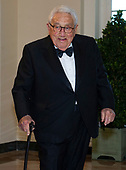 Former United States Secretary of State Henry Kissinger arrives for the State Dinner hosted by United States President Donald J. Trump and First lady Melania Trump in honor of Prime Minister Scott Morrison of Australia and his wife, Jenny Morrison, at the White House in Washington, DC on Friday, September 20, 2019.<br /> Credit: Ron Sachs / Pool via CNP