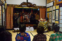 "Morning ""Gongyo"" Yamabushi ceremony, Daishinbo lodging house, Dewa Sanzan, Tsuruoka-city, Yamagata Prefecture, Japan, October 17, 2012."