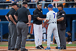 Wake Forest Demon Deacons head coach Tom Walter (16) shakes hands with Florida Gators head coach Kevin O'Sullivan (7) prior to Game Two of the Gainesville Super Regional of the 2017 College World Series at Alfred McKethan Stadium at Perry Field on June 11, 2017 in Gainesville, Florida.  (Brian Westerholt/Four Seam Images)