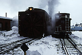 Front view of C&amp;TS rotary snowplow #OY beside caboose #0503 at Chama.<br /> C&amp;TS  Chama, NM