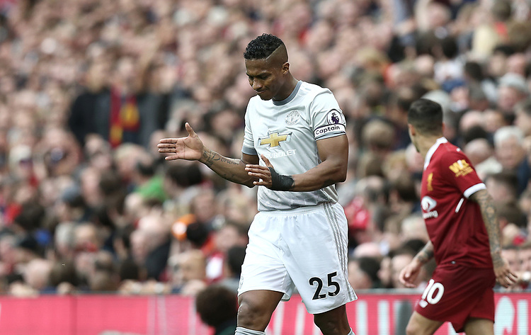 Manchester United's Luis Antonio Valencia<br /> <br /> Photographer Rich Linley/CameraSport<br /> <br /> The Premier League - Liverpool v Manchester United - Saturday 14th October 2017 - Anfield - Liverpool<br /> <br /> World Copyright &copy; 2017 CameraSport. All rights reserved. 43 Linden Ave. Countesthorpe. Leicester. England. LE8 5PG - Tel: +44 (0) 116 277 4147 - admin@camerasport.com - www.camerasport.com