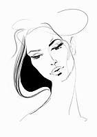 Pen and ink sketch of beautiful woman's face