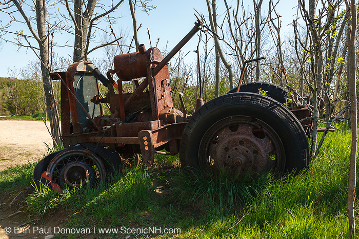Old tractor at Wagon Hill Farm in  Durham, New Hampshire USA which is located in New England.