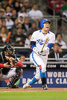 15 March 2009: #50 Hyun Soo Kim swings and misses during the 2009 World Baseball Classic Pool 1 game 2 at Petco Park in San Diego, California, USA. Korea wins 8-2 over Mexico.
