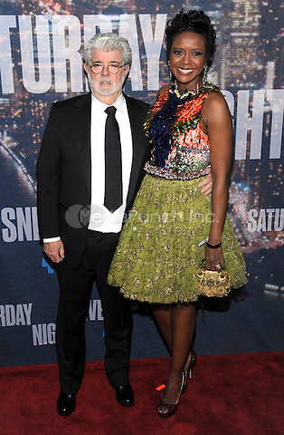 New York, NY- February 15:  George Lucas and Mellody Hobson attends the SNL 40th Anniversary Celebration at Rockefeller Plaza on February 15, 2015 in New York City. Credit: John Palmer/MediaPunch