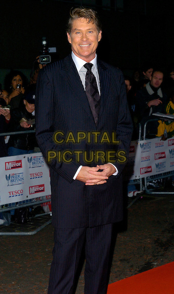 DAVID HASSELHOFF.The Daily Mirror's Pride Of Britain Awards, London Television Studios, London, UK..November 6th, 2006.Ref: CAN.half length black blue pinstripe suit jacket.www.capitalpictures.com.sales@capitalpictures.com.©Can Nguyen/Capital Pictures