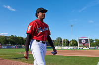 Billings Mustangs pitcher Miguel Medrano (18) before a Pioneer League game against the Grand Junction Rockies at Dehler Park on August 15, 2019 in Billings, Montana. Billings defeated Grand Junction 11-2. (Zachary Lucy/Four Seam Images)