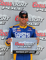 Sept. 27, 2008; Kansas City, KS, USA; NASCAR Nationwide Series driver Kevin Harvick after winning the pole for the Kansas Lottery 300 at Kansas Speedway. Mandatory Credit: Mark J. Rebilas-