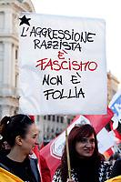 Banner Racist aggression is fascism not madness<br /> Roma 10/11/2018. Manifestazione contro il decreto Salvini sull'immigrazione e contro il razzismo. Intitolata 'Uniti e solidali contro il Governo, il razzismo ed il Decreto Salvini'<br /> Rome November 10th 2018. Demonstration against the Salvini decree on immigration and against the racism.<br /> Foto Samantha Zucchi Insidefoto