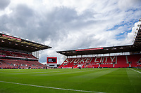 27th June 2020; Bet365 Stadium, Stoke, Staffordshire, England; English Championship Football, Stoke City versus Middlesbrough; Players take a knee for BLM pre start