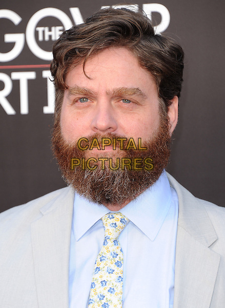 """Zach Galifianakis.""""The Hangover Part III"""" Los Angeles Premiere held at the Westwood Village Theater, Los Angeles, California, USA..May 20th, 2013.headshot portrait beard facial hair blue yellow tie floral print shirt grey gray.CAP/DVS.©DVS/Capital Pictures"""