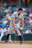 Indianapolis Indians starting pitcher Tyler Glasnow (26) looks to his catcher for the sign against the Charlotte Knights at BB&T BallPark on June 17, 2016 in Charlotte, North Carolina.  The Knights defeated the Indians 4-0.  (Brian Westerholt/Four Seam Images)