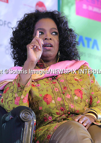 "Jaipur,India-22/01/2012: OPRAH WINFREY ATTENDS JAIPUR LITERATURE FESTIVAL 2012.American talk show hostess Oprah Winfrey wearing the traditional Indian khameez salwar attends the annual Jaipur Literature Festival..Oprah has been in India shooting her new show titled ""Next Chapter""..Mandatory Photo Credit: ©Ramesh Nair-Solaris Images/NEWSPIX INTERNATIONAL..**ALL FEES PAYABLE TO: ""NEWSPIX INTERNATIONAL""**..PHOTO CREDIT MANDATORY!!: NEWSPIX INTERNATIONAL(Failure to credit will incur a surcharge of 100% of reproduction fees)..IMMEDIATE CONFIRMATION OF USAGE REQUIRED:.Newspix International, 31 Chinnery Hill, Bishop's Stortford, ENGLAND CM23 3PS.Tel:+441279 324672  ; Fax: +441279656877.Mobile:  0777568 1153.e-mail: info@newspixinternational.co.uk"