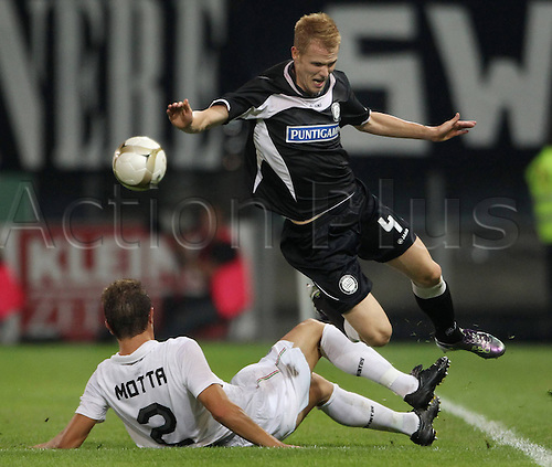 19.08.2010 Europa League SK Sturm Graz v Juventus Play Off for qualification. Picture shows Marco Motta Juventus and Dominic Purcher Sturm Graz
