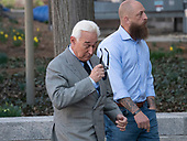Former adviser to United States President Donald J. Trump, Roger Stone, removes his sunglasses as he walks towards the US District Court in Washington, DC on Thursday, March 14, 2019. <br /> Credit: Ron Sachs / CNP<br /> (RESTRICTION: NO New York or New Jersey Newspapers or newspapers within a 75 mile radius of New York City)