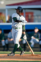 Tim Beckham (6) of the Princeton Rays follows through on his swing at Burlington Athletic Park in Burlington, NC, Monday August 11, 2008. (Photo by Brian Westerholt / Four Seam Images)