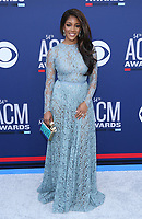 07 April 2019 - Las Vegas, NV - Mickey Guyton. 54th Annual ACM Awards Arrivals at MGM Grand Garden Arena. Photo Credit: MJT/AdMedia<br /> CAP/ADM/MJT<br /> &copy; MJT/ADM/Capital Pictures