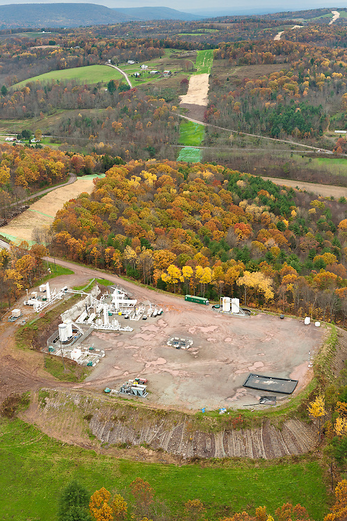 Well site and pipeline construction. Bradford County, Marcellus Shale, Pennsylvania.