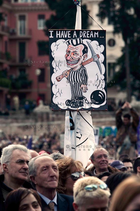 Roma 27 Febbraio 2010.Il  'Popolo Viola' in piazza  per protestare  contro la legge sul legittimo impedimento.Rome, February 27, 2010.The 'Purple People' in the streets to protest against the law for legitimate  impediment