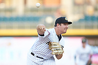 Charlotte Knights starting pitcher Asher Wojciechowski (30) delivers a pitch to the plate against the Buffalo Bison at BB&T BallPark on August 14, 2018 in Charlotte, North Carolina. The Bison defeated the Knights 14-5.  (Brian Westerholt/Four Seam Images)