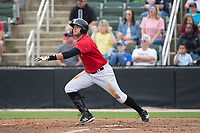 Brandon Dulin (31) of the Kannapolis Intimidators follows through on his swing against the Rome Braves at Kannapolis Intimidators Stadium on April 12, 2017 in Kannapolis, North Carolina.  The Braves defeated the Intimidators 4-3.  (Brian Westerholt/Four Seam Images)