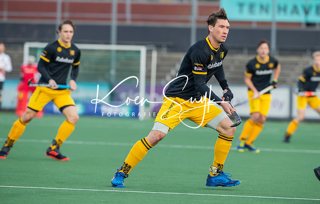 AMSTELVEEN -   Arjen Lodewijks (Den Bosch)  tijdens de competitie hoofdklasse hockeywedstrijd mannen, Amsterdam- Den Bosch (2-3).  COPYRIGHT KOEN SUYK