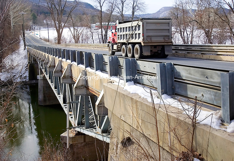 SALISBURY CT. 17  January 2008-011708SV04--Responding to National Transportation Safety Board (NTSB) announcement that under-designed gusset plates may have played a role in a Minneapolis bridge collapse, Governor M. Jodi Rell and Department of Transportation Acting Commissioner Emil H. Frankel today announced that the DOT will immediately begin load capacity calculations on six bridges in Connecticut which are of a generally similar design. This bridge on Rt. 7 is one of the six to be tested, it crosses the Housatonic River in Salisbury.<br /> Steven Valenti Republican-American