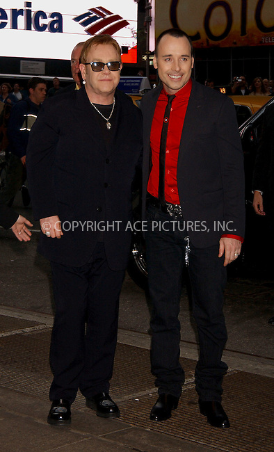 """WWW.ACEPIXS.COM . . . . . ....APRIL 25, 2006 - NEW YORK CITY....Elton John and David Furnish attend  the opening night of the Anne Rice/Elton John musical """"Lestat"""" at the Palace Theatre in New York City.......Please byline: KRISTIN CALLAHAN - ACEPIXS.COM.. . . . . . ..Ace Pictures, Inc:  ..(212) 243-8787 or (646) 679 0430..e-mail: picturedesk@acepixs.com..web: http://www.acepixs.com"""