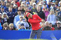 Lexi Thompson of Team USA on the 10th tee during Day 1 Fourball at the Solheim Cup 2019, Gleneagles Golf CLub, Auchterarder, Perthshire, Scotland. 13/09/2019.<br /> Picture Thos Caffrey / Golffile.ie<br /> <br /> All photo usage must carry mandatory copyright credit (© Golffile | Thos Caffrey)