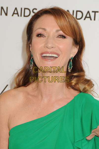 Jane Seymour.21st Annual Elton John Academy Awards Viewing Party held at West Hollywood Park, West Hollywood, California, USA..February 24th, 2013.oscars headshot portrait green one shoulder dangling earrings mouth open.CAP/ADM/BP.©Byron Purvis/AdMedia/Capital Pictures.