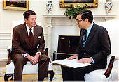 United States President Ronald Reagan meets with Minister of State for Foreign Affairs Boutros Boutros-Ghali of the Arab Republic of Egypt in the Oval Office of the White House in Washington, D.C. on Friday, April 15, 1983. Boutros Boutros-Ghali died at age 93 on February 16, 2016.<br /> Mandatory Credit: Karl H. Schumacher - White House via CNP