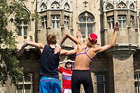 Mikhaela Kalancha, Aleksandr Maltsev and their coach during a training session <br /> Synchronised swimming , Synchro<br /> 12/07/2017 <br /> XVII FINA World Championships Aquatics<br /> City Park - Varosliget Lake<br /> Budapest Hungary <br /> Photo Andrea Staccioli/Deepbluemedia/Insidefoto