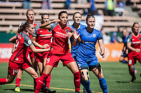 Seattle, WA - Saturday August 26, 2017: Nadia Nadim, Christine Nairn during a regular season National Women's Soccer League (NWSL) match between the Seattle Reign FC and the Portland Thorns FC at Memorial Stadium.