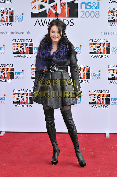 SARAH BRIGHTMAN.Arrivals for the Classical Brit Awards 2008 held at the Royal Albert Hall, London, England, UK, 8th May 2008..full length black over the knee boots coat dress purple fur feather neck scarf trim leather grey gray.CAP/CAN.© Phil Loftus/Capital Pictures