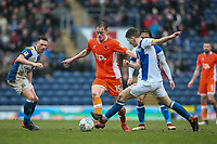 Blackpool's Sean Longstaff competing with Blackburn Rovers' Corry Evans and Richard Smallwood<br /> <br /> Photographer Andrew Kearns/CameraSport<br /> <br /> The EFL Sky Bet League One - Blackburn Rovers v Blackpool - Saturday 10th March 2018 - Ewood Park - Blackburn<br /> <br /> World Copyright &copy; 2018 CameraSport. All rights reserved. 43 Linden Ave. Countesthorpe. Leicester. England. LE8 5PG - Tel: +44 (0) 116 277 4147 - admin@camerasport.com - www.camerasport.com